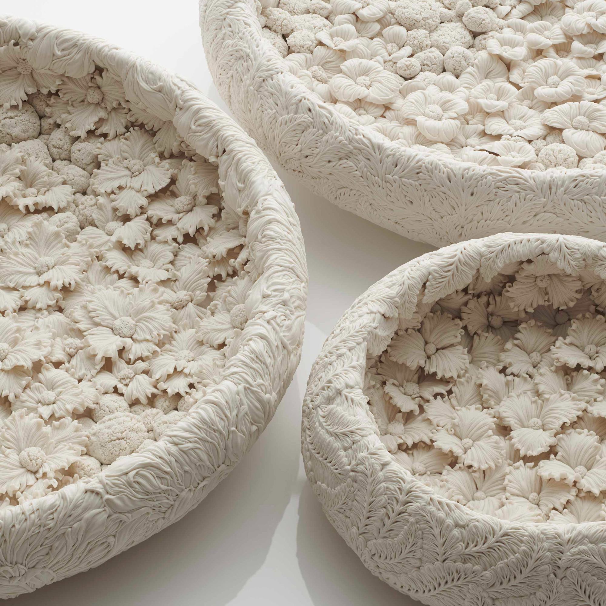 Magnificently Detailed Porcelain Vessels by Hitomi Hosono Are Blossoming with Hundreds of Flowers, Leaves, and Branches