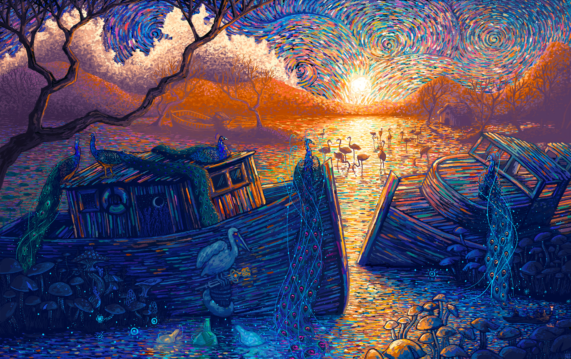 Fantastical Worlds Created with Dappled Brush Strokes by Illustrator James R. Eads