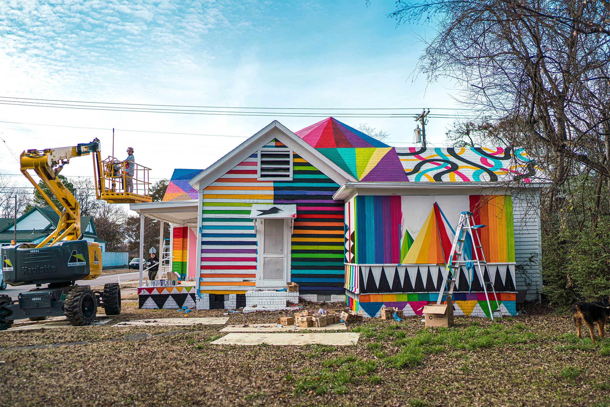 Color-Blocked Animals and Geometric Shapes Transform Neglected Home in Installation by Okuda San Miguel