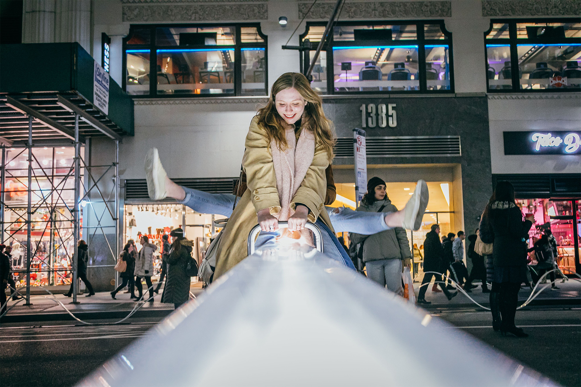Giant Seesaws Transform New York City's Garment District into Light-Filled Urban Playground