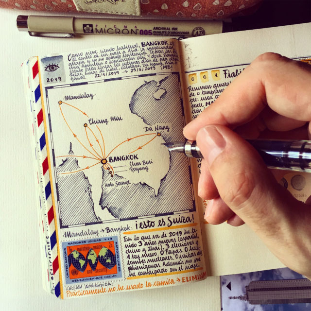 Stamps, Scientific Charts, and Hand-Drawn Maps Occupy Every Inch of Travel Notebooks by José Naranja