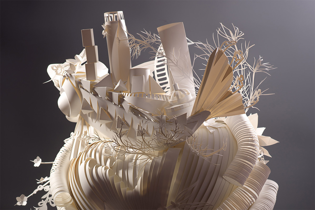Miniature Seascapes and Cities Top Elaborate Paper Wigs by Asya Kozina and Dmitriy Kozin