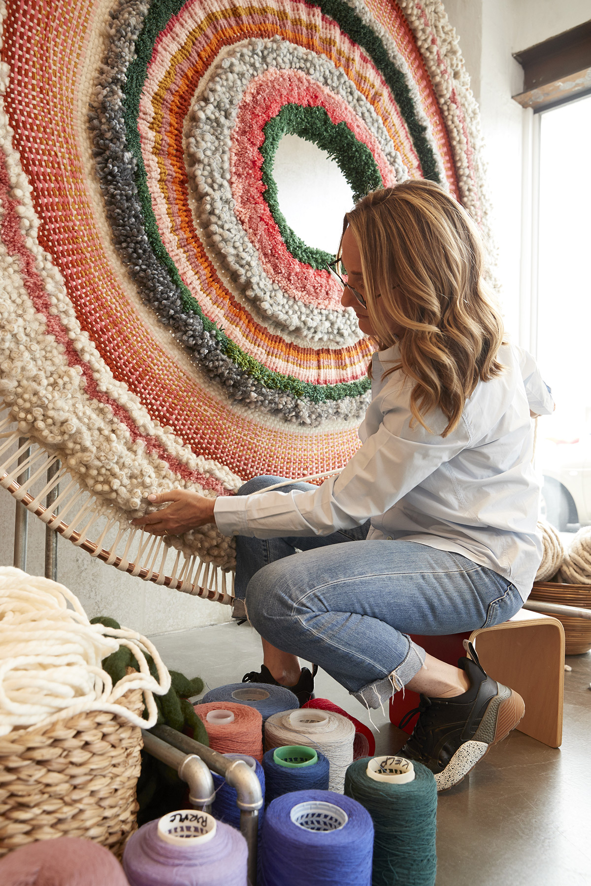 Concentric Circles of Tufted Wool by Artist Tammy Kanat