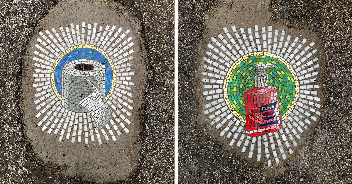 Chicago Potholes Are Filled with Pandemic Essentials in Humorous New Mosaics by Jim Bachor