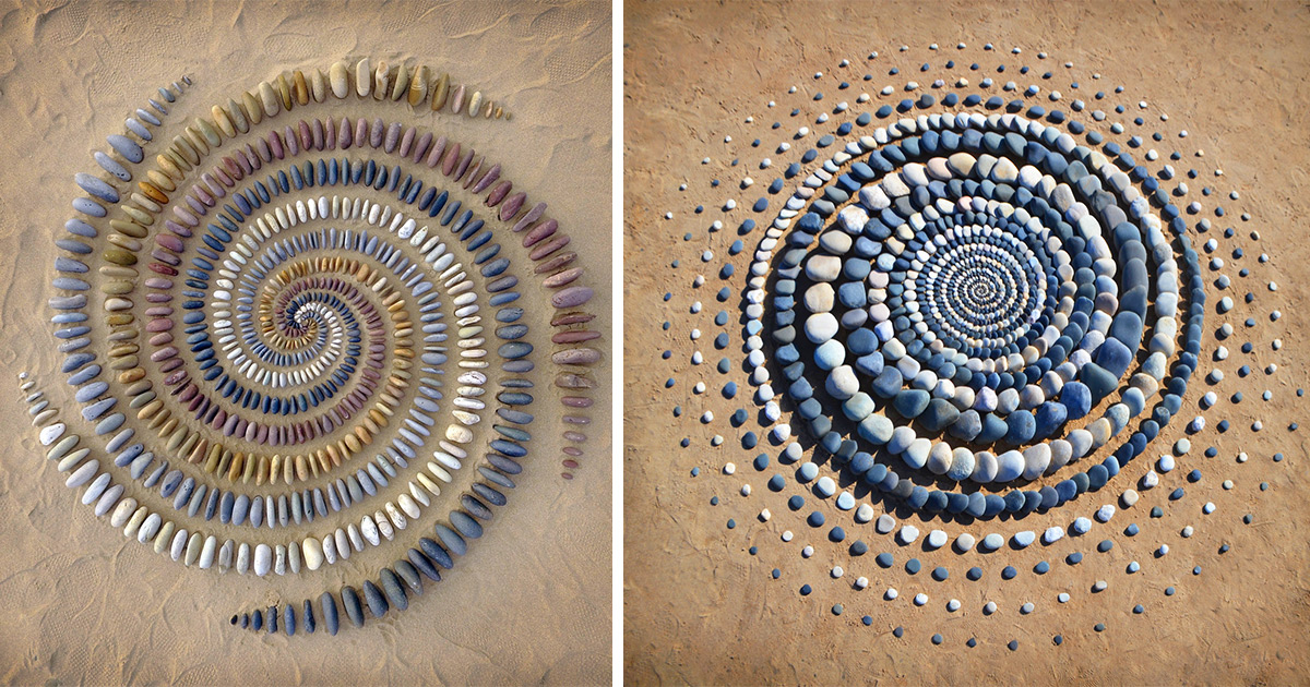 Stones, Leaves, and Shells Whorl in Hypnotic Land Art by Jon Foreman