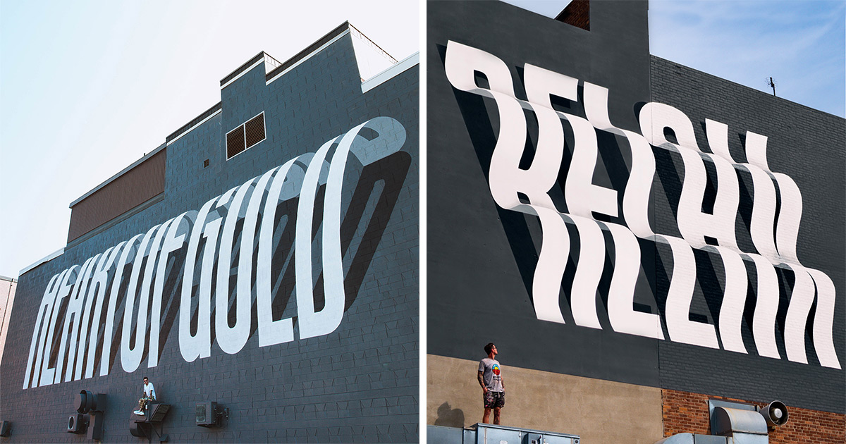 Illusory Street Typography Pops Off the Wall in Bold Murals by Ben Johnston