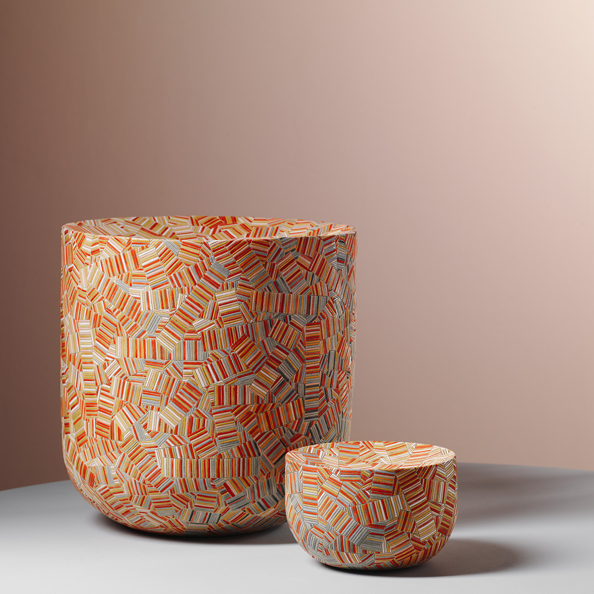 Stacked Chevron, Multi-Colored Stripes, and Ornamental Motifs Detail Frances Priest's Meticulous Ceramics
