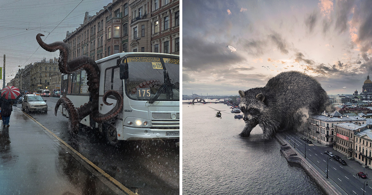 Massive Wild Animals Wander Russian Streets in Surreal Composites by Vadim Solovyov