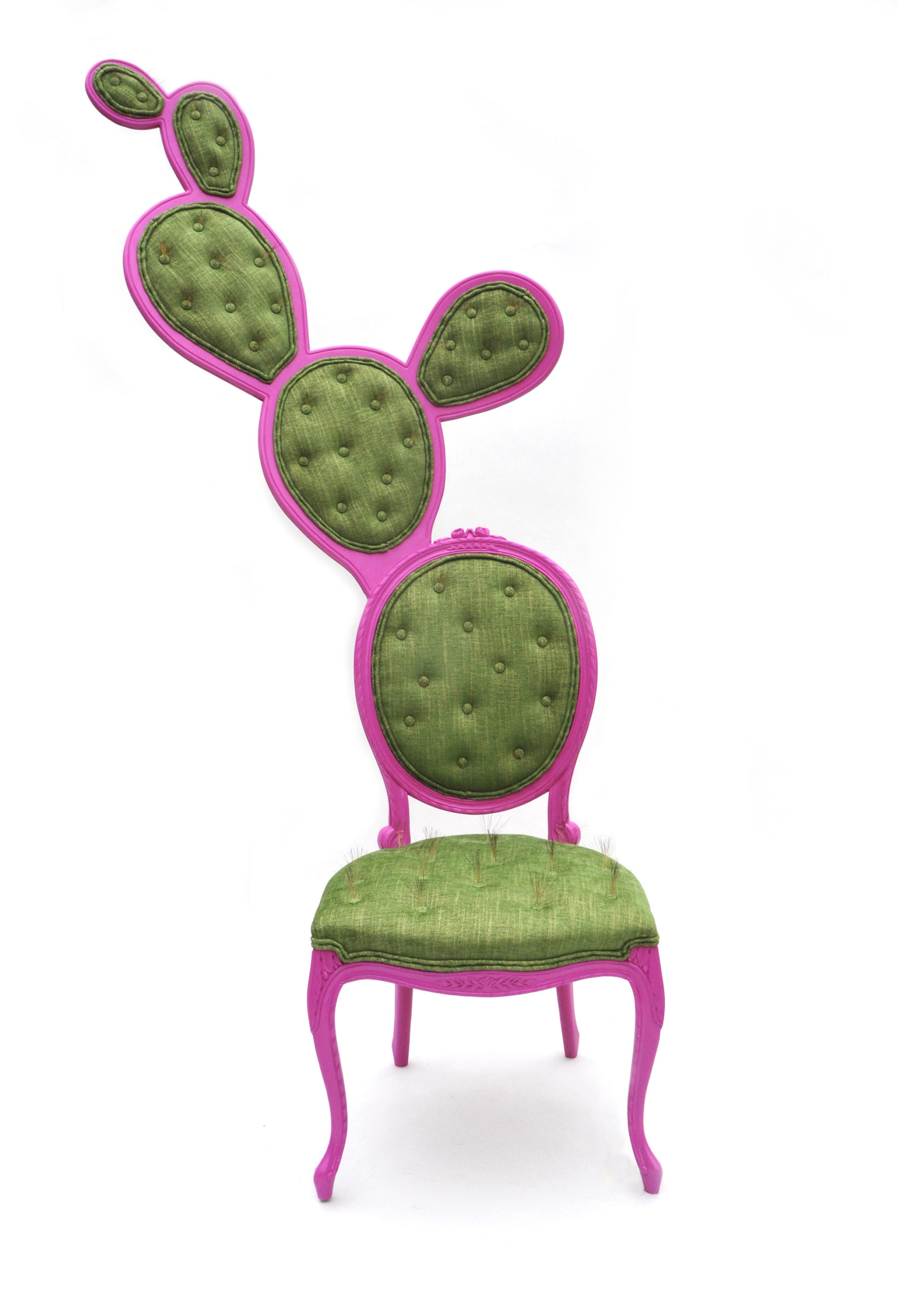 Fibrous Spikes Poke From a Humorous Pair of Cacti Chairs by Valentina Gonzalez Wohlers
