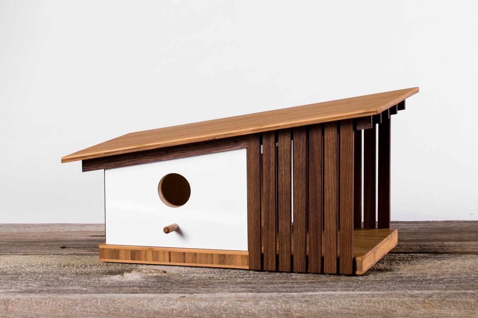 Mid-Century Modern Perches Offer a Minimalist Haven for Backyard Birds