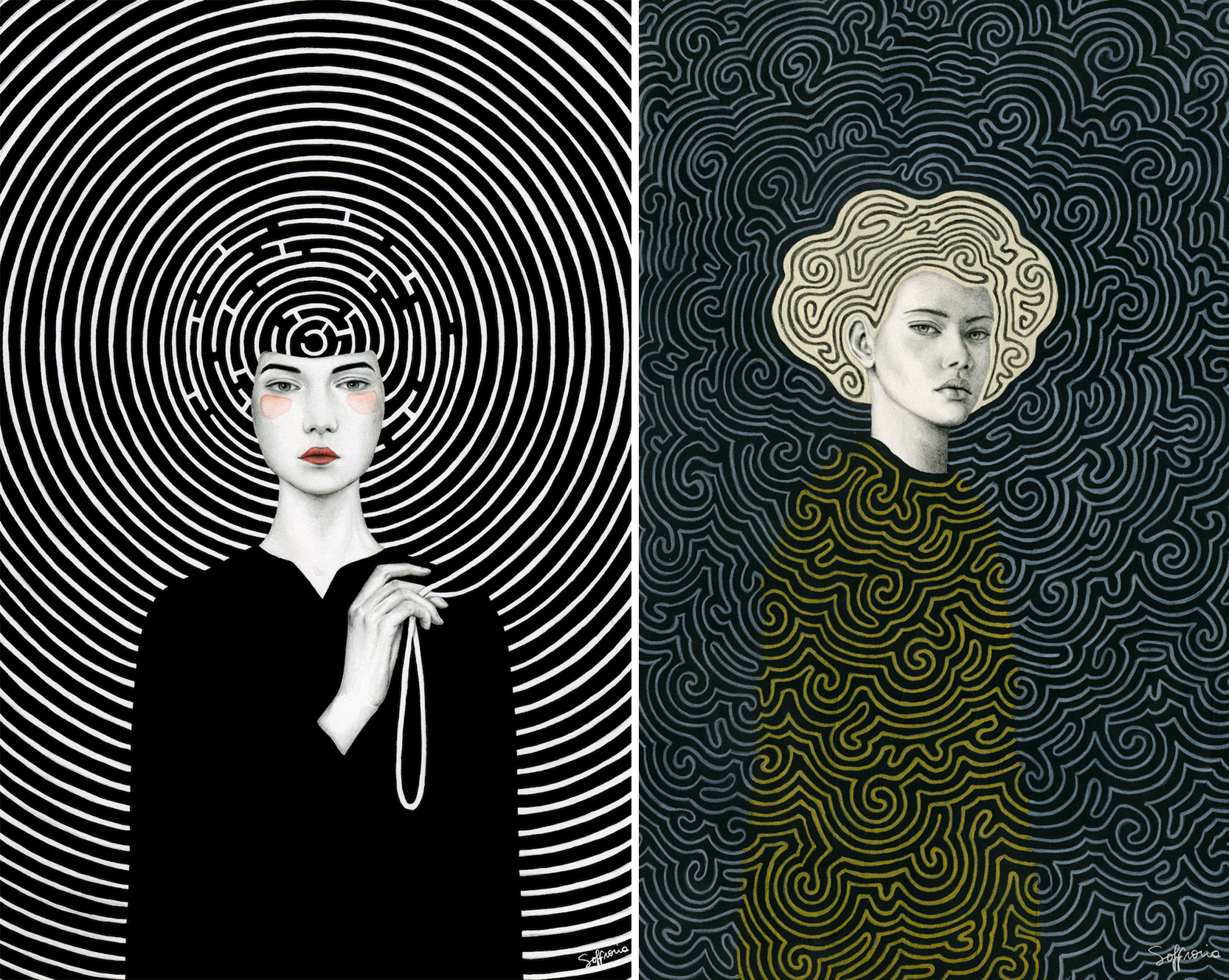Hypnotic Illustrations Blur Resolute Women into Heavily Patterned Portraits