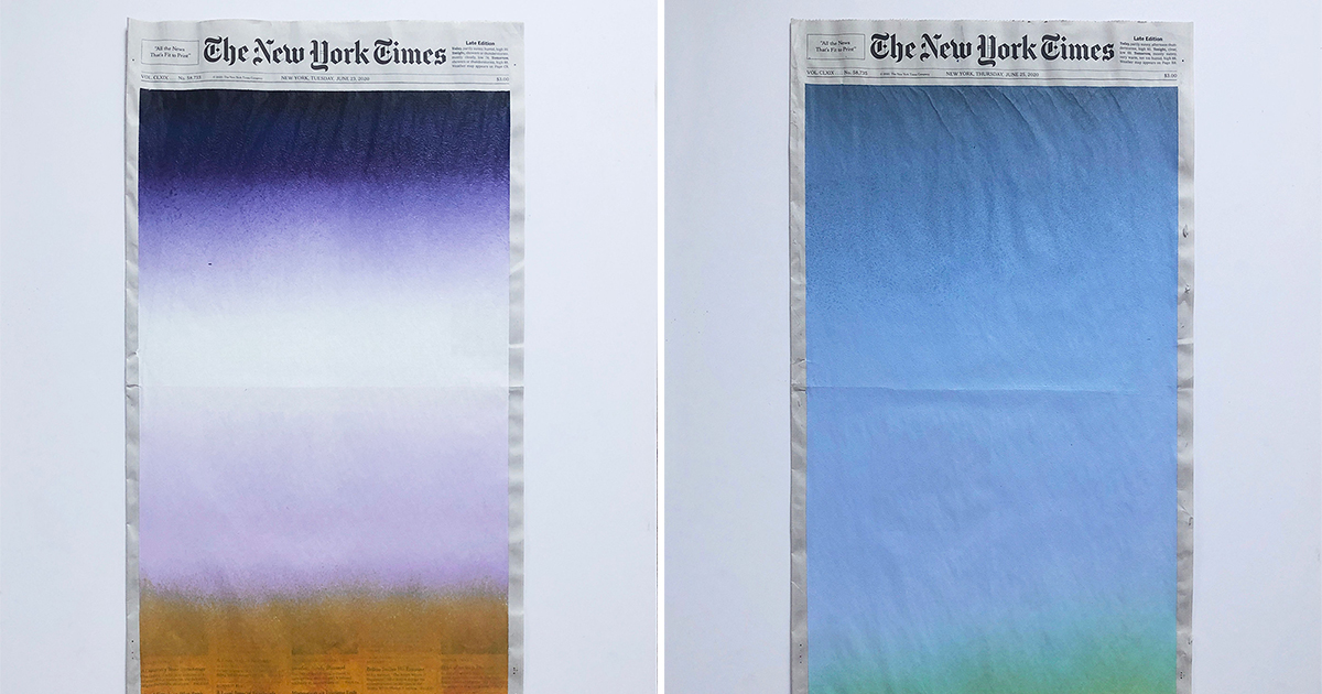 Organic, Sunrise Gradients Mask Front Pages of The New York Times by Artist Sho Shibuya