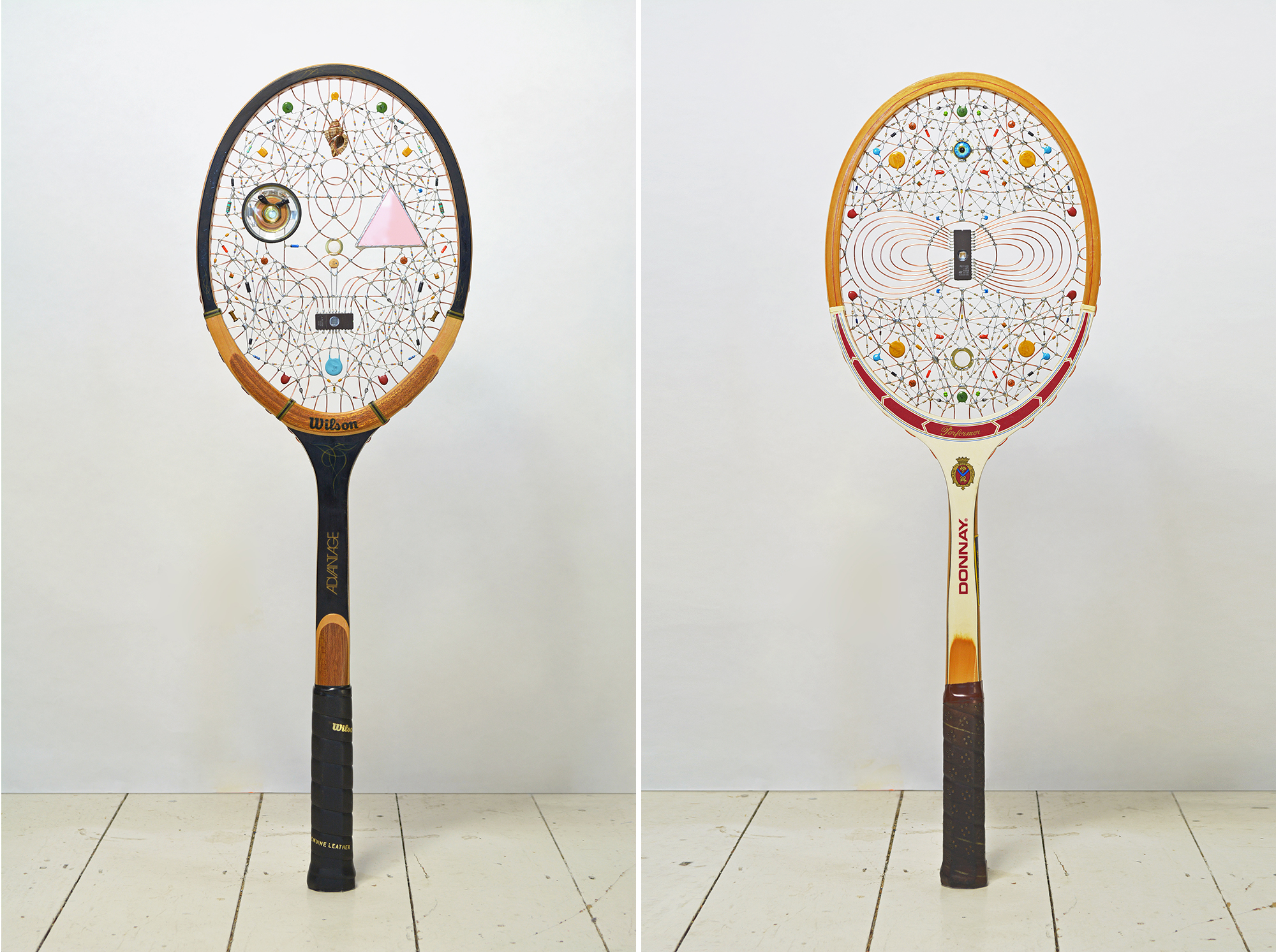 Constellations of Found Electronics Shape Faces on Vintage Rackets by Artist Leonardo Ulian