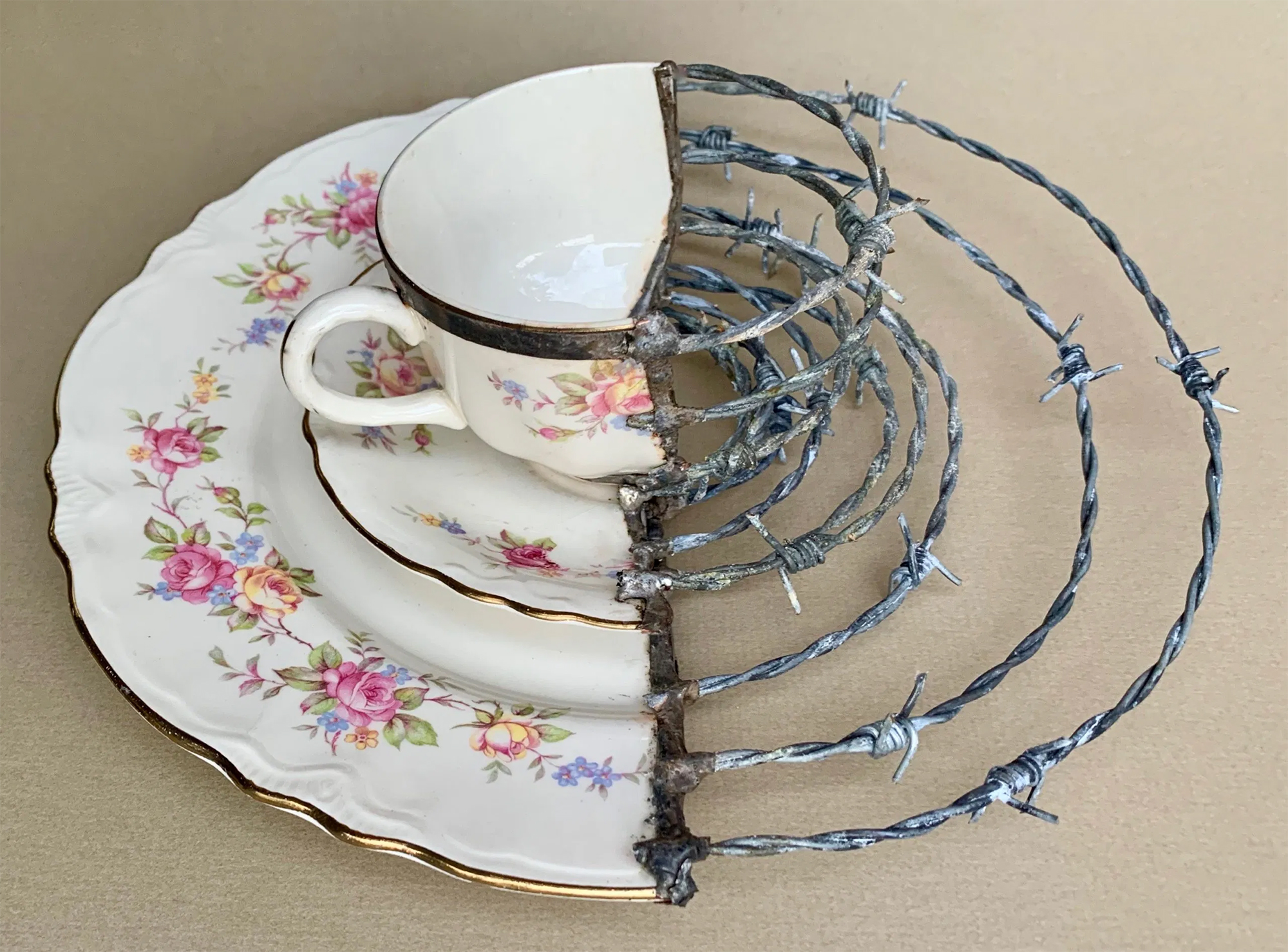 Barbed Wire Rusty Knives And Found Objects Mend Artist Glen Taylor S Broken Porcelain Colossal