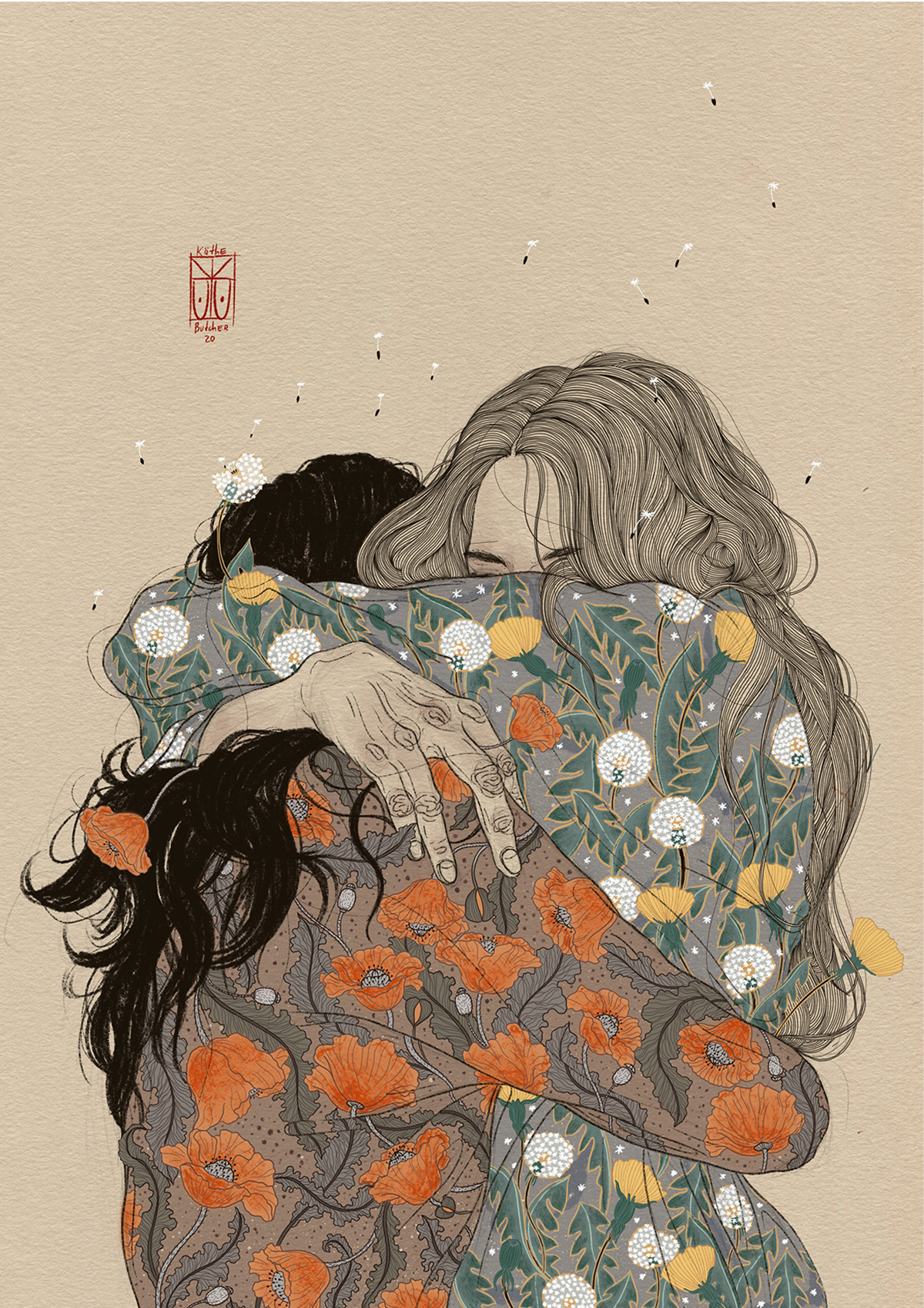 Lyrical Illustrations by Käthe Butcher Explore Femininity, Emotion, and Human Intimacy