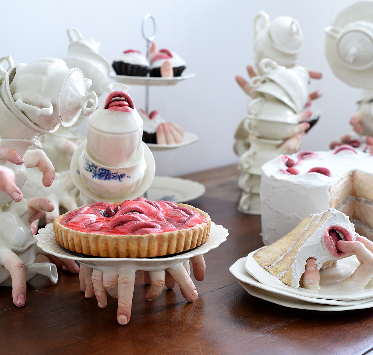 Insatiable Mouths and Fingers Rouse a Delicate Tea Set by Artist Ronit Baranga