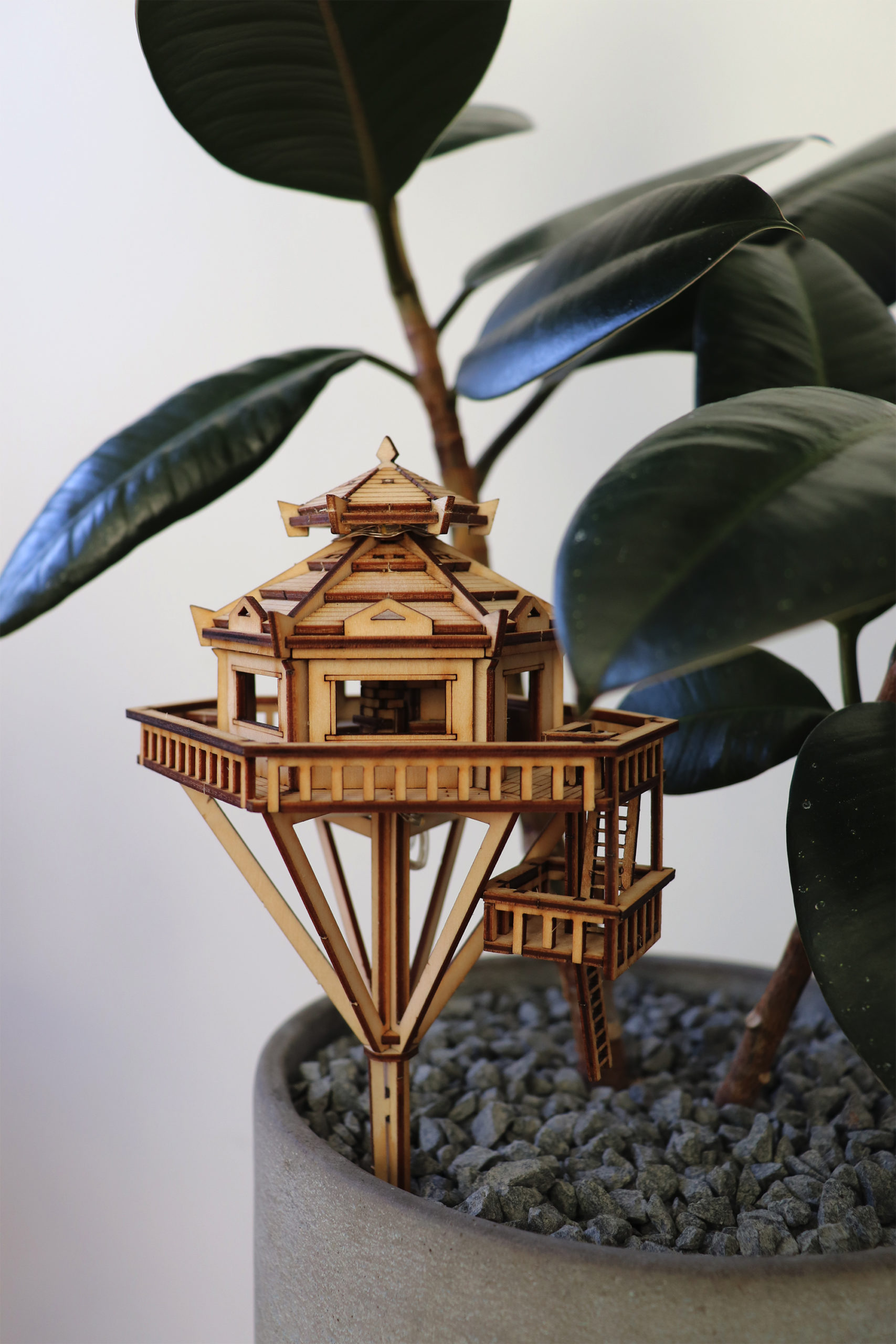 Build a Miniature Hangout with a DIY Wooden Treehouse Kit
