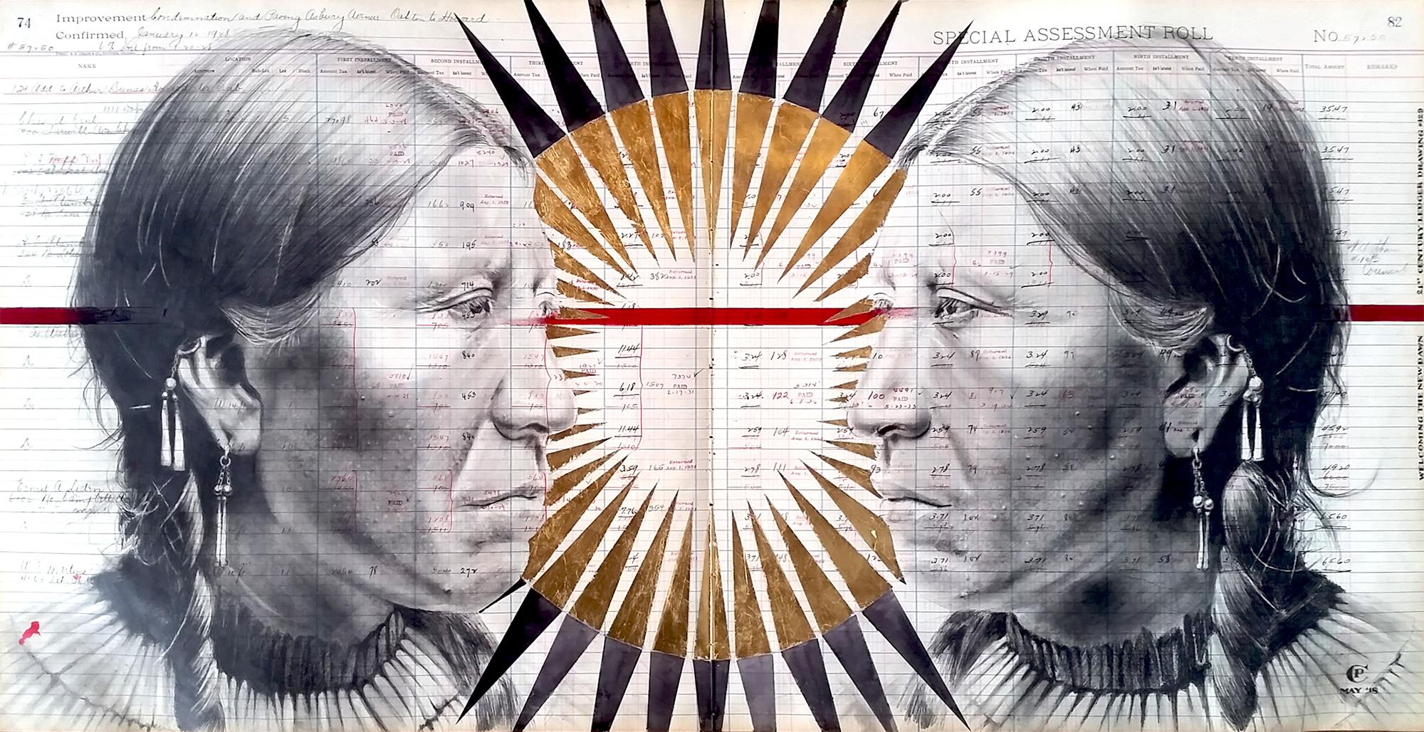 Subversively Elegant Portraits of Indigenous People Drawn on Repurposed Ledgers by Artist Chris Pappan