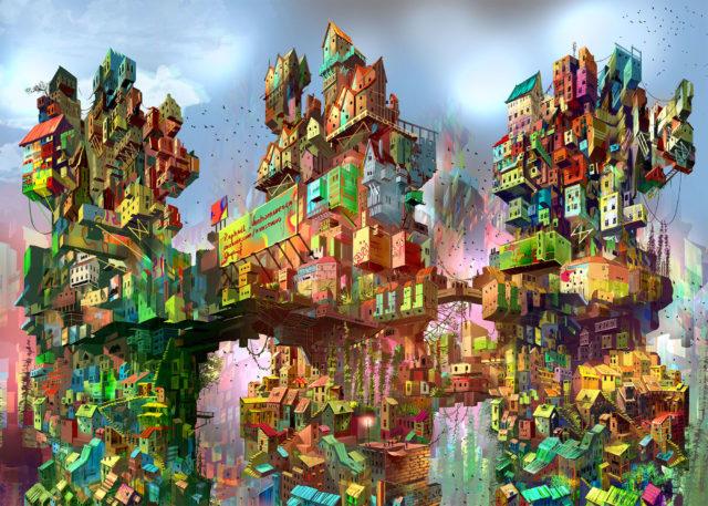 Vertical Cities Soar Into the Sky in Otherworldly Digital Paintings by Artist Raphael Vanhomwegen