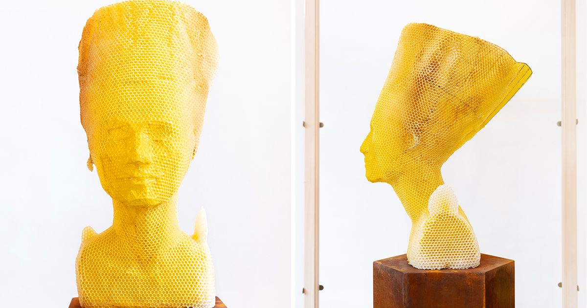 60,000 Bees Recreate the Nefertiti Bust and Other Classic Sculptures in Wax with Artist Tomáš Libertíny