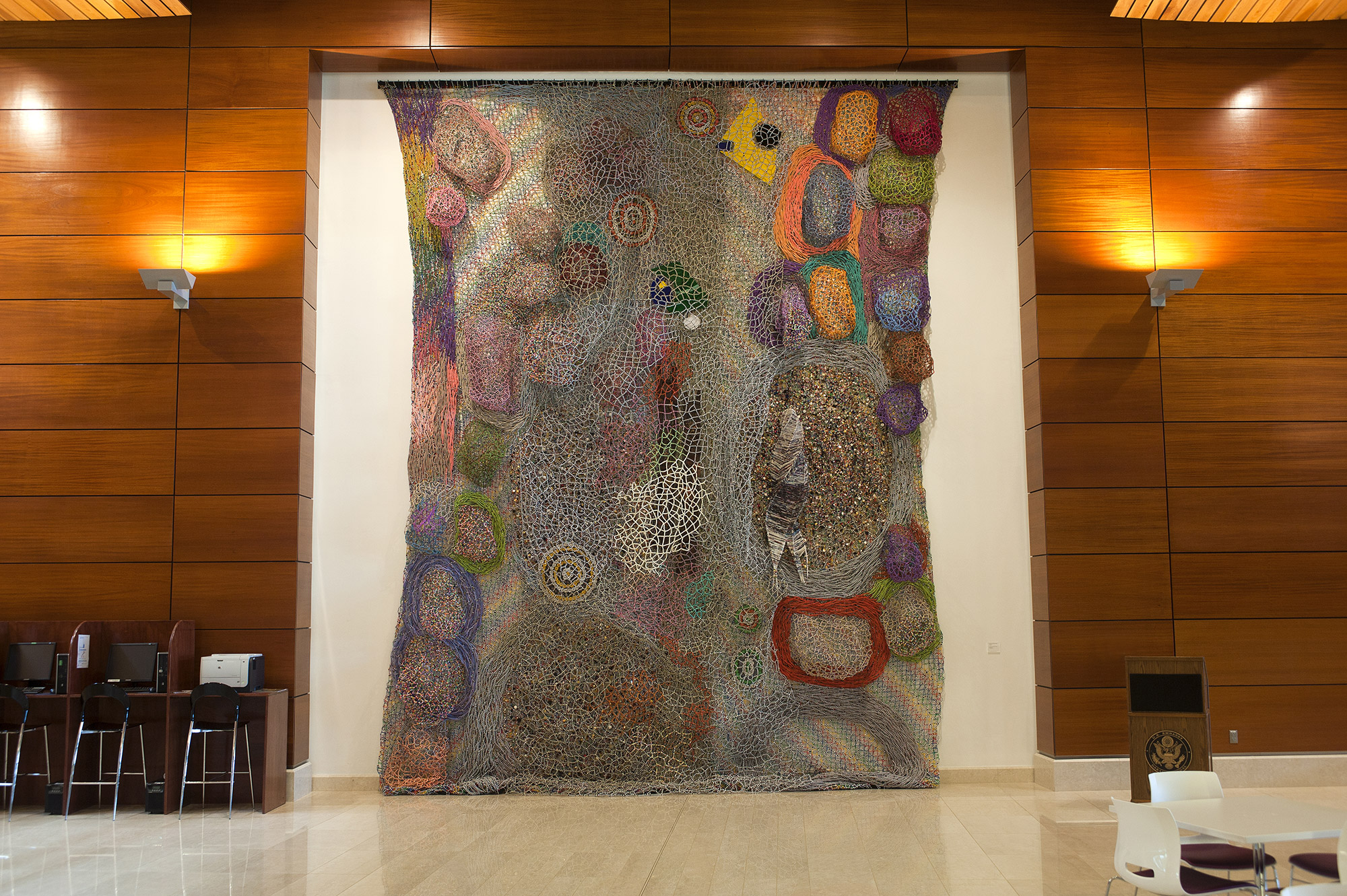A Monumental Bas-Relief Sculpture by Nick Cave Connects Senegalese and U.S. Cultures in a Web of Beadwork