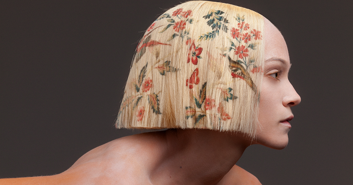 Floral Motifs Are Digitally Printed onto Blonde Hair in a New Baroque-Inspired Collection