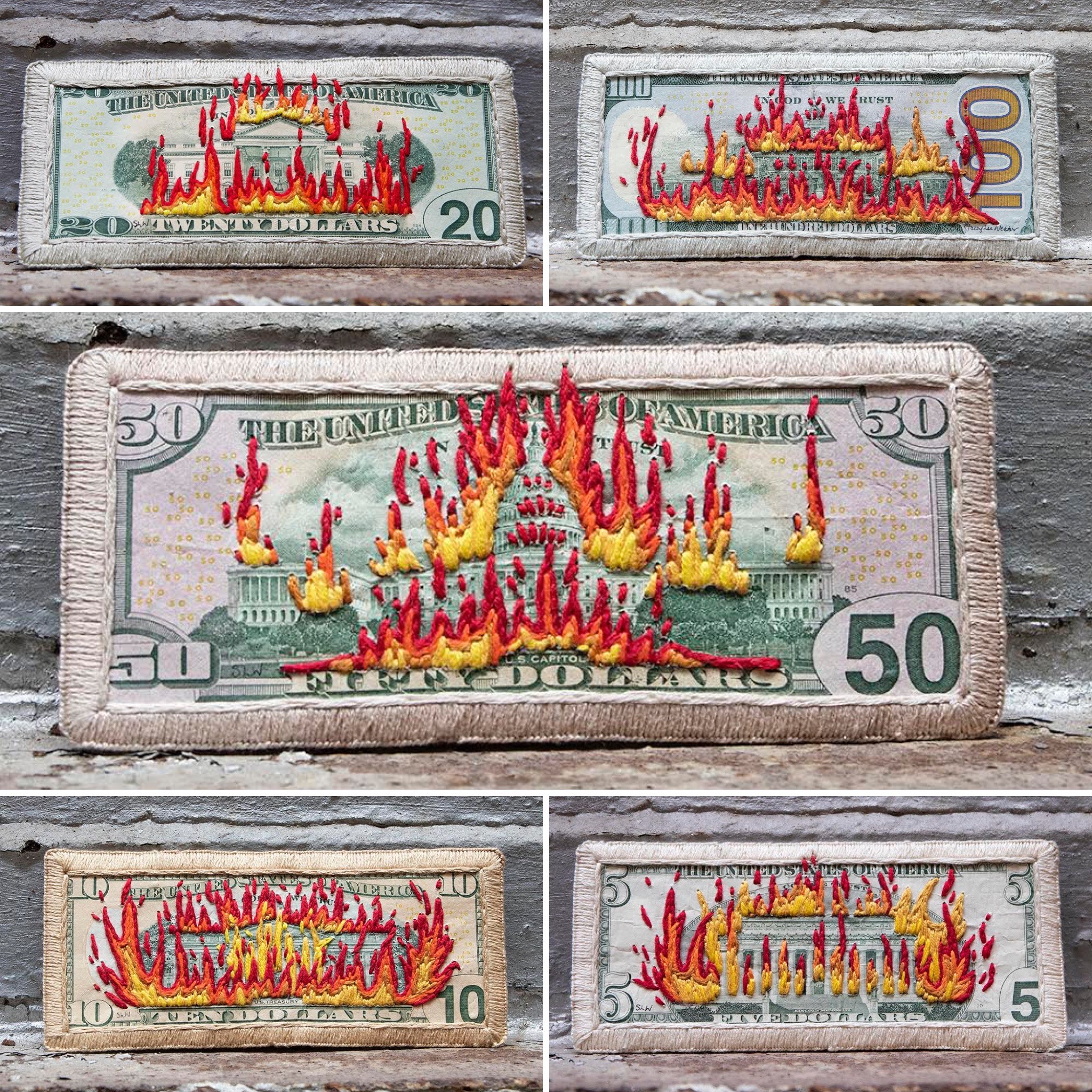 Subversively Embroidered Money and Penny Sculptures Question Historical Narratives