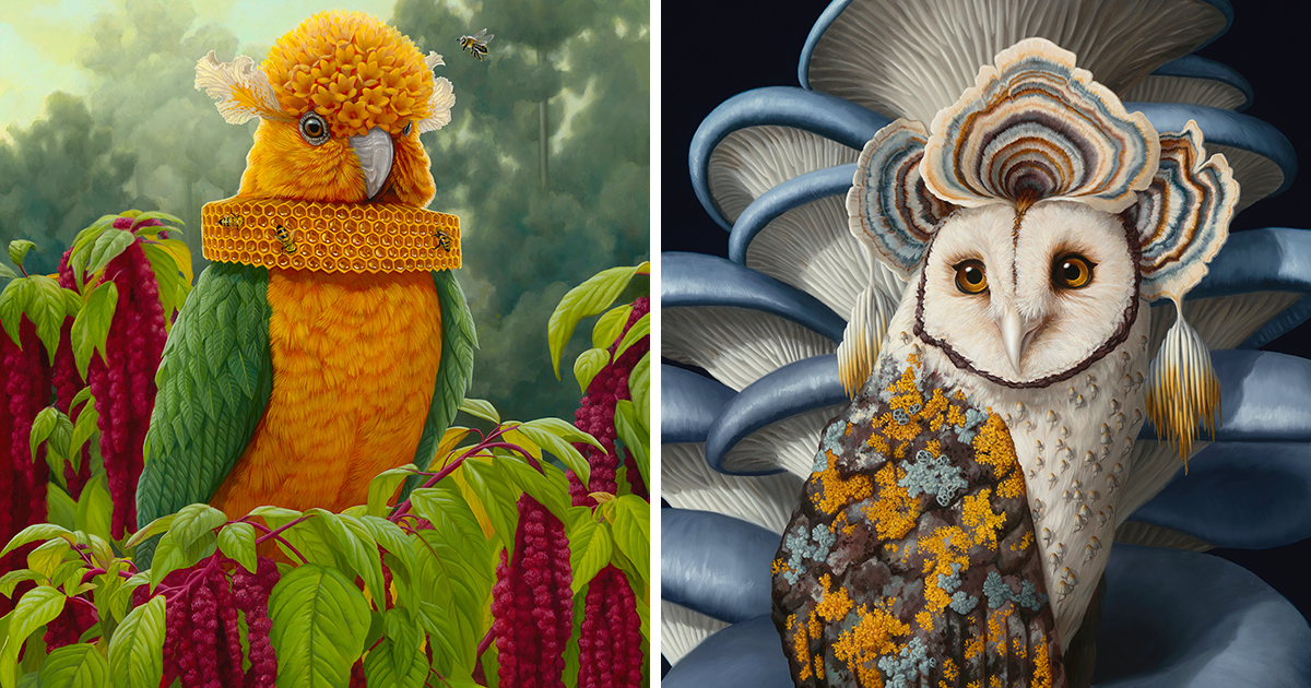 Flora and Fauna Converge as Fantastic Hybrid Creatures in Jon Ching's Oil Paintings