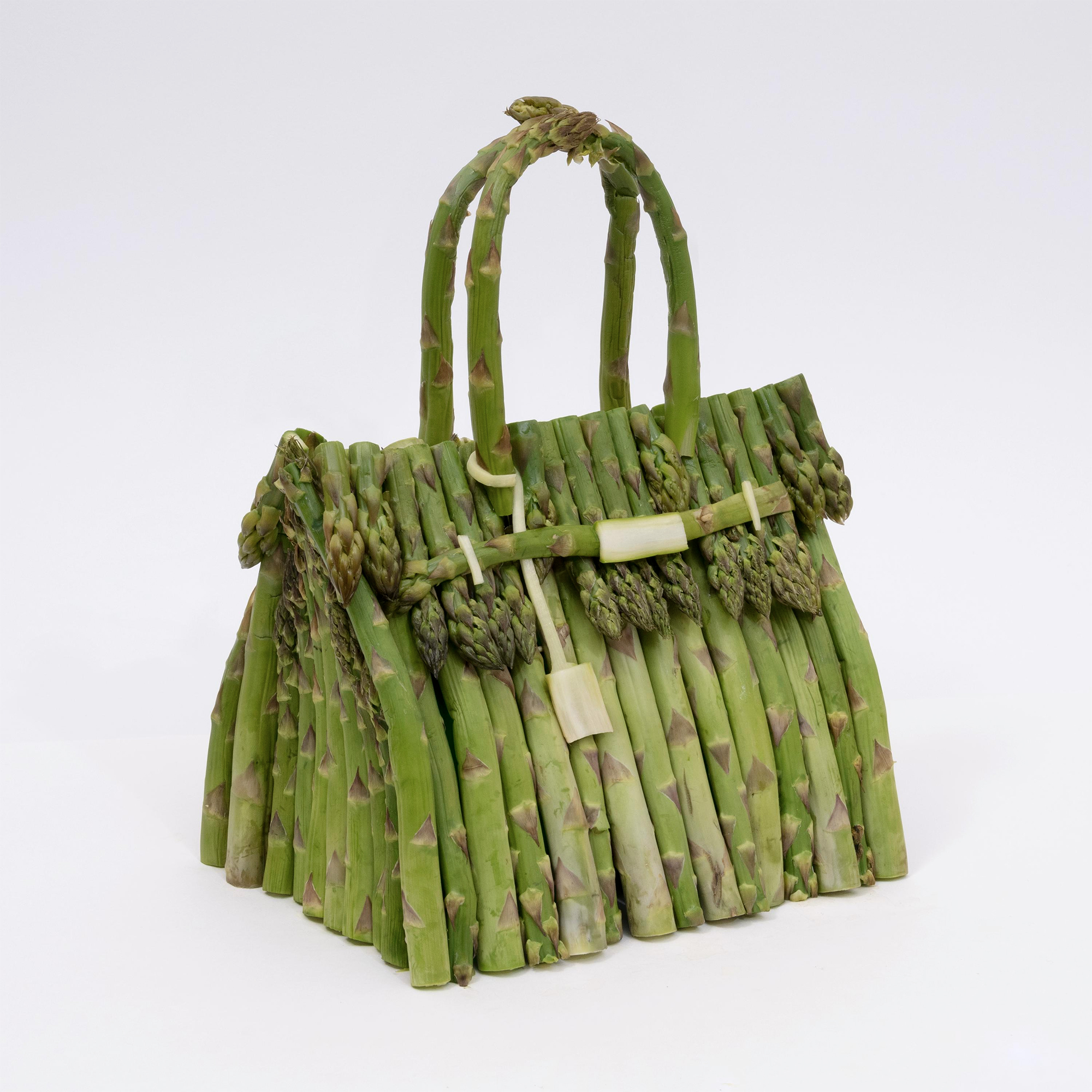 Asparagus, Cucumbers, and Cabbage Leaves Take a Fresh Twist on the Iconic Hermès Birkin Bag