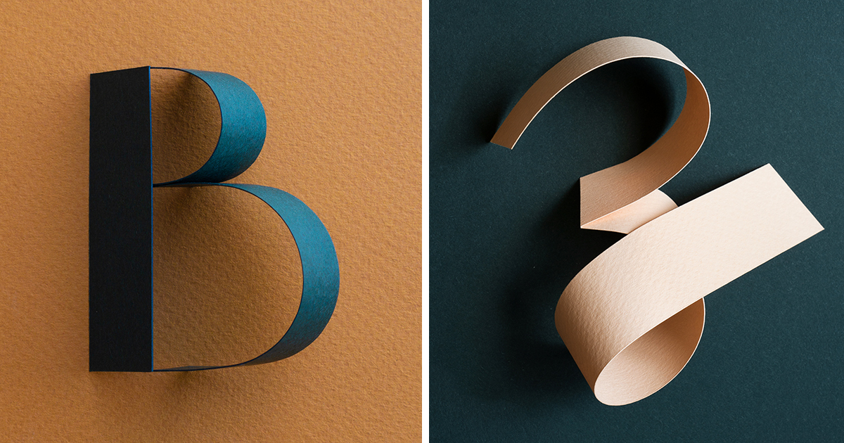Paper Is Creased and Twisted into an Elegant Three-Dimensional Typographic Series by Reina Takahashi