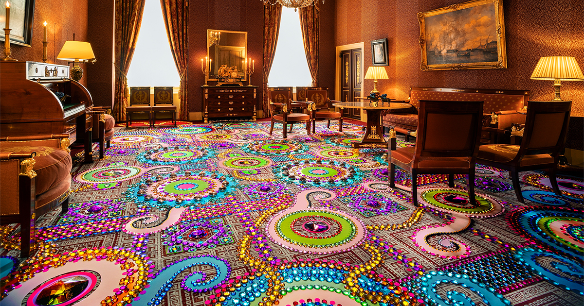 A Dizzying Carpet of Crystals Blankets a Salon in the Royal Palace Amsterdam with Prismatic Patterns