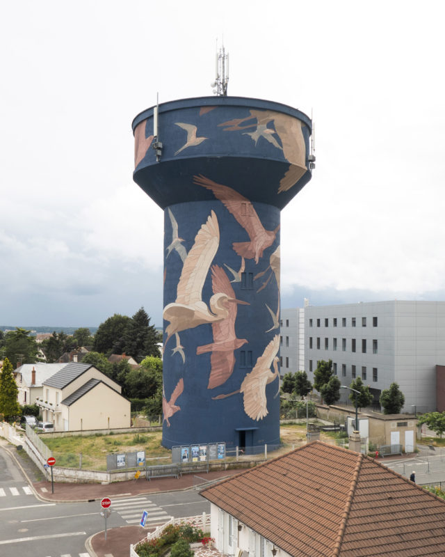 Flying Ospreys, Herons, and Terns Comprise a 35-Meter Water Tower Mural by Taquen