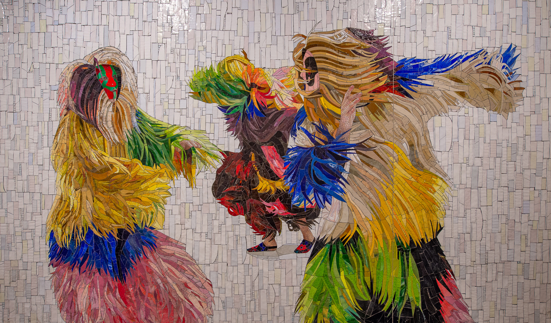 Nick Cave's Energetic 'Soundsuits' Dance Along the New York City Subway in a 360-Foot Mosaic