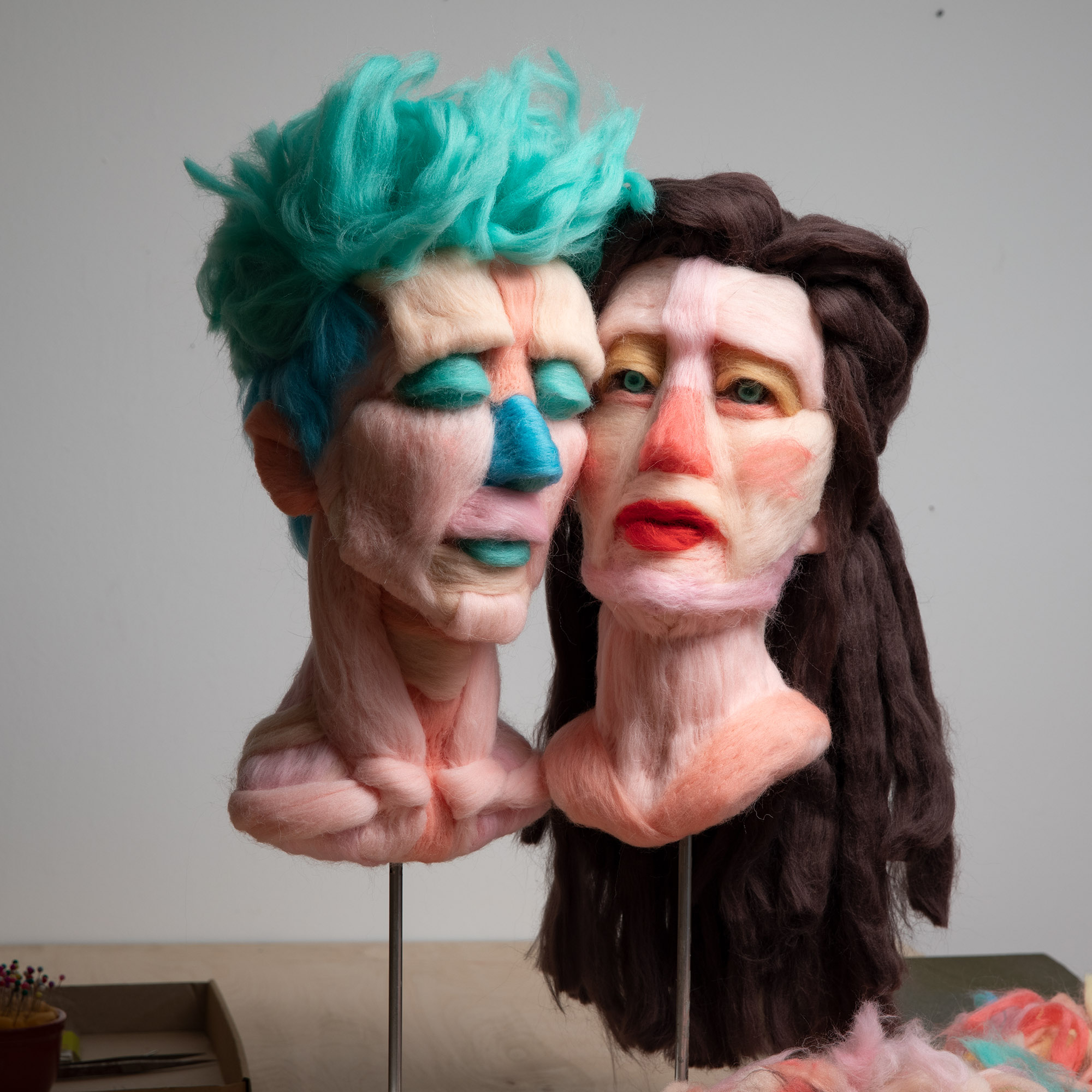 Colorful Raw Wool Is Twisted into Expressive Busts by Salman Khoshroo