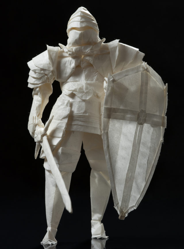 An Origami Knight Equipped with a Sword and Shield Materializes from a Single Sheet of Paper