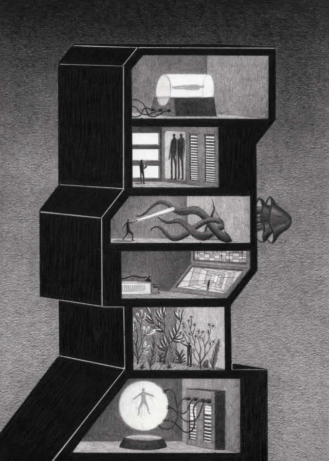 Eerie Graphite Drawings Encase Aliens and Sci-Fi Experiments in Looming Stacked Towers