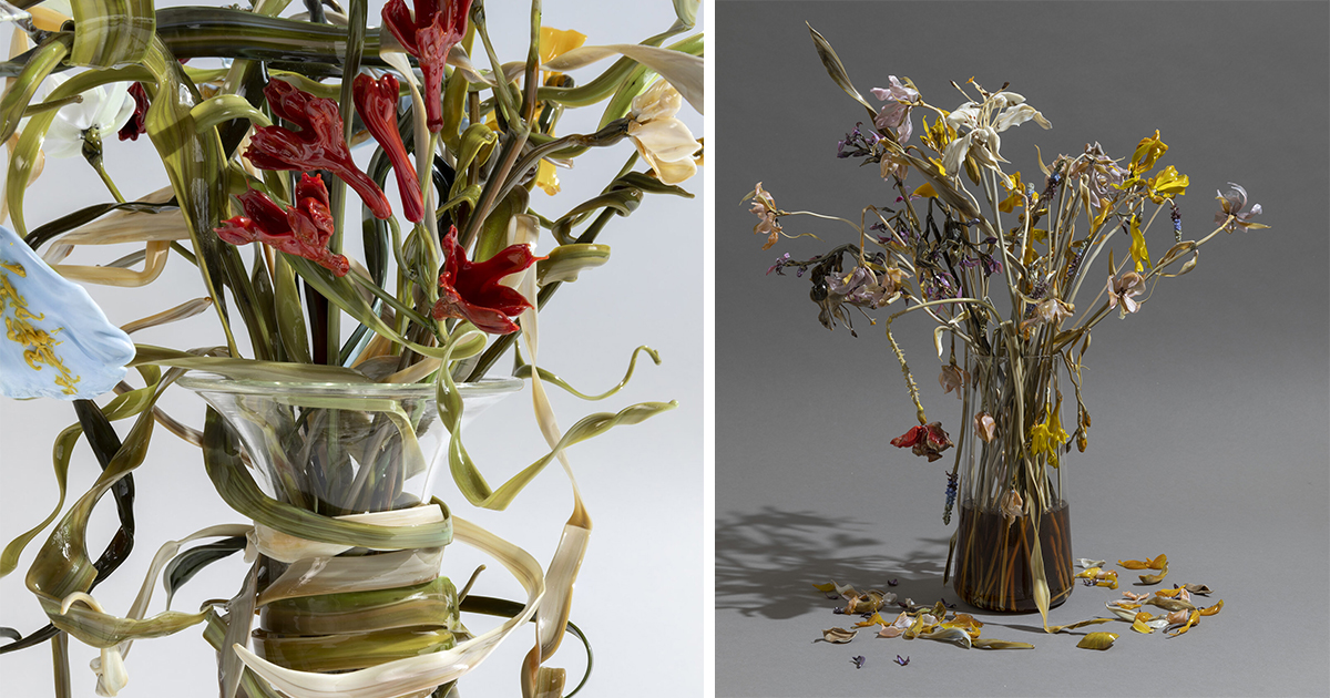 Wilting Flowers Elegantly Sculpted in Glass by Lilla Tabasso Are Suspended in States of Decay